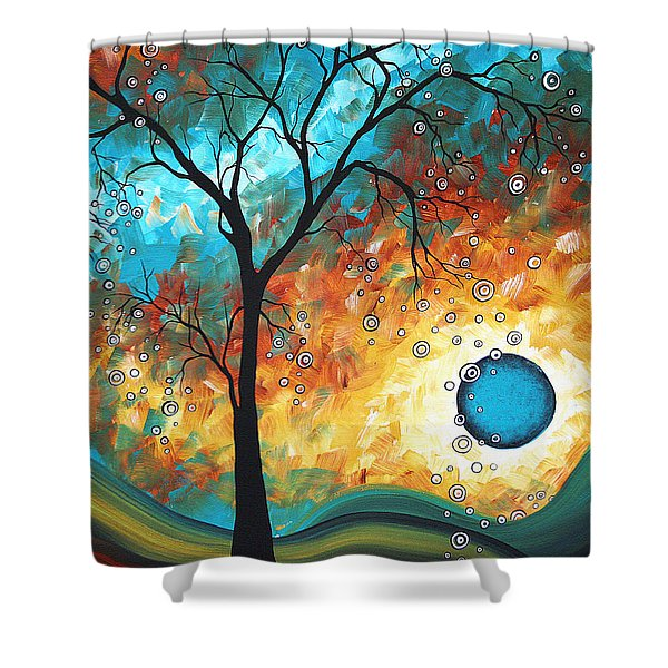 Aqua Burn by MADART Shower Curtain by Megan Duncanson
