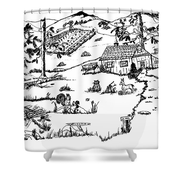 Arlenne's IDYLLIC FARM Shower Curtain by Daniel Hagerman