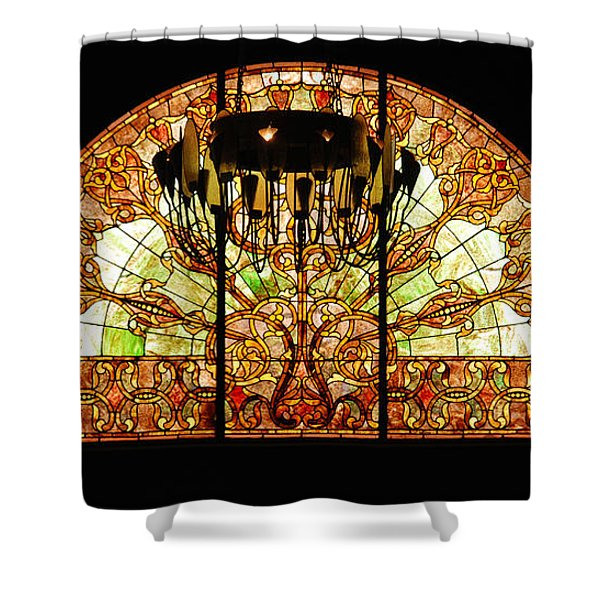 Artful Stained Glass Window Union Station Hotel Nashville Shower Curtain by Susanne Van Hulst