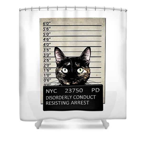 Kitty Mugshot Shower Curtain by Nicklas Gustafsson