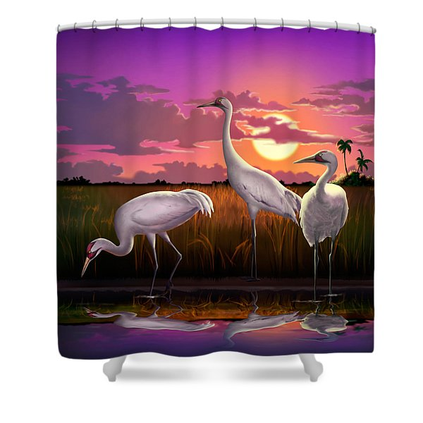 Whooping Cranes Tropical Florida Everglades Sunset Birds Landscape Scene Purple Pink Print Shower Curtain by Walt Curlee