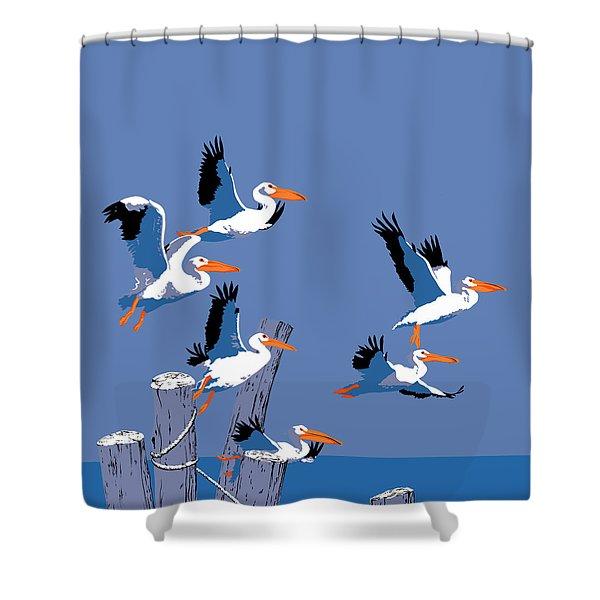 abstract Pelicans seascape tropical pop art nouveau 1980s florida birds large retro painting  Shower Curtain by Walt Curlee