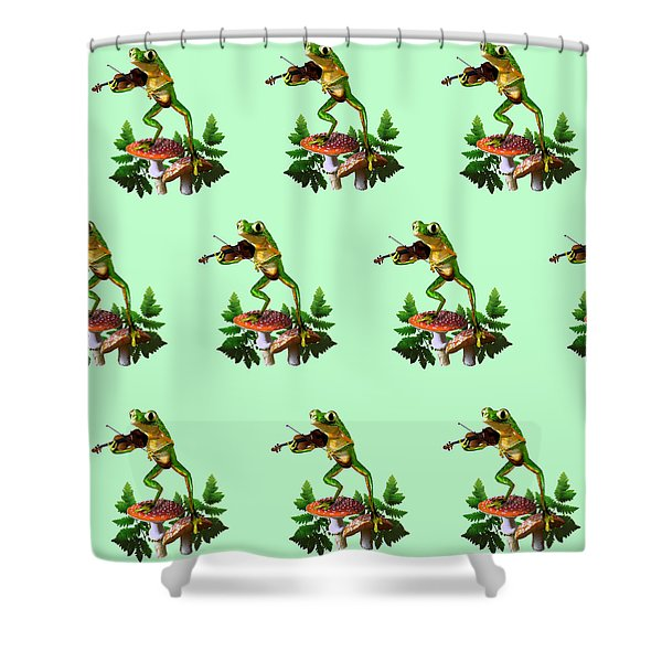 Humorous Tree Frog Playing a Fiddle Shower Curtain by Gina Femrite