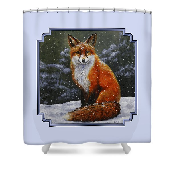 Snow Fox Shower Curtain by Crista Forest