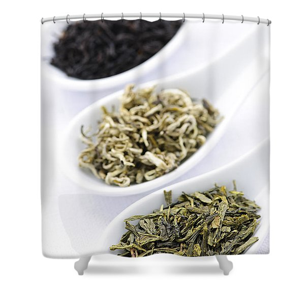 Assortment of dry tea leaves in spoons Shower Curtain by Elena Elisseeva
