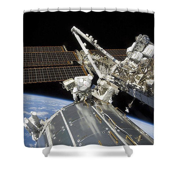 Astronauts Perform A Series Of Tasks Shower Curtain by Stocktrek Images