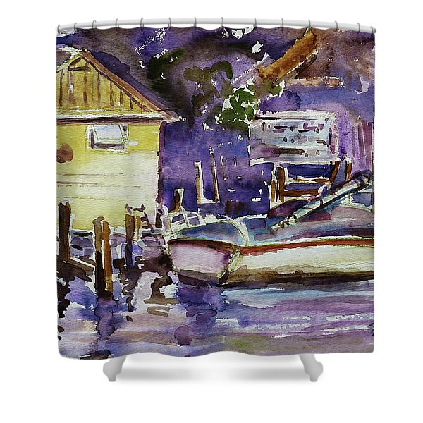 At Boat House 3 Shower Curtain by Xueling Zou