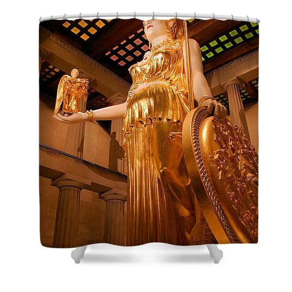 Athena with Nike Shower Curtain by Kristin Elmquist