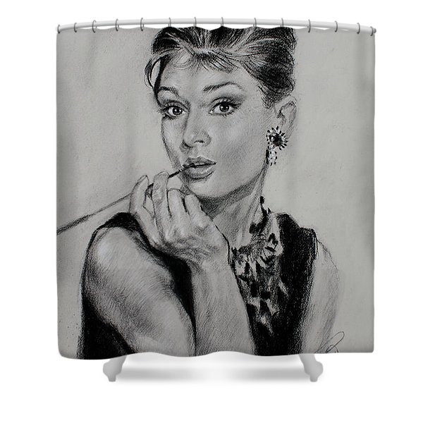 Audrey Hepburn Shower Curtain by Ylli Haruni