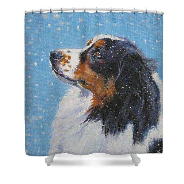 Australian Shepherd In Snow Shower Curtain by L A Shepard