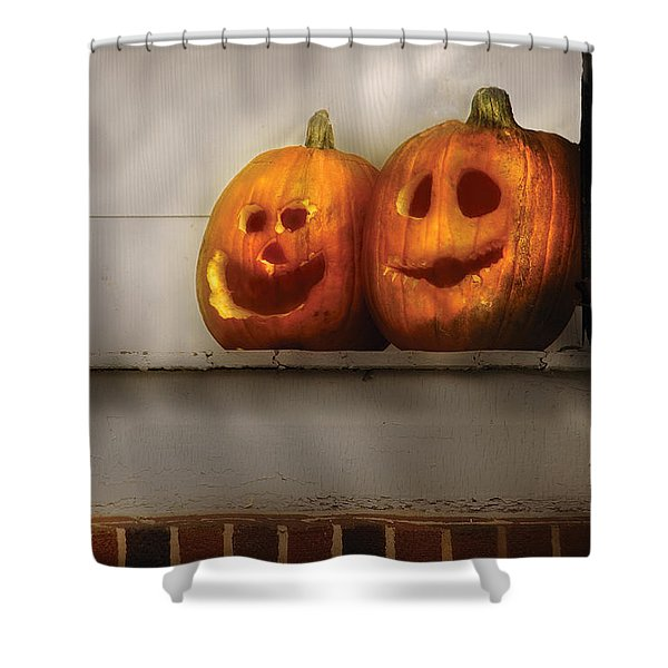 Autumn - Pumpkins - Two Goofy Pumpkins Shower Curtain by Mike Savad