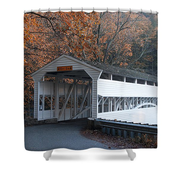 Autumn at Knox Covered Bridge in Valley Forge Shower Curtain by Bill Cannon