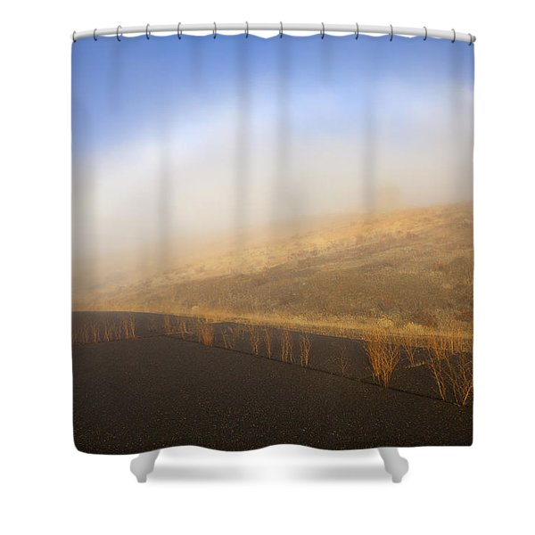 Autumn Fog bow Shower Curtain by Mike  Dawson