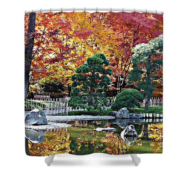 Autumn Glow In Manito Park Shower Curtain by Carol Groenen