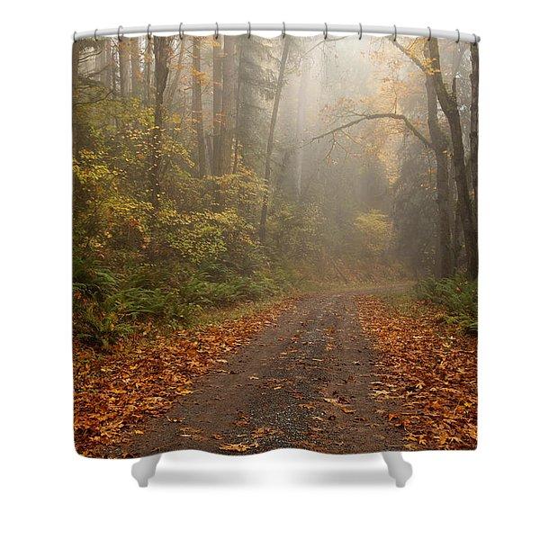 Autumn Lane Shower Curtain by Mike  Dawson