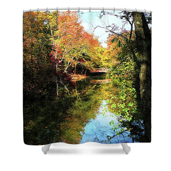 Autumn Park With Bridge Shower Curtain by Susan Savad
