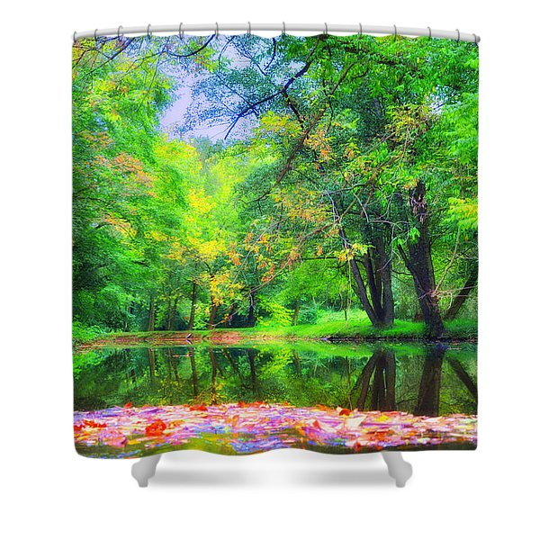 Autumn Pond in Gladwyne Shower Curtain by Bill Cannon