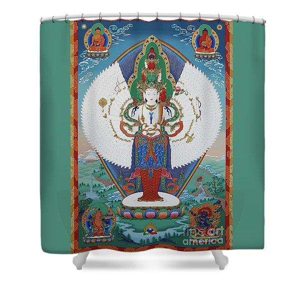Avalokiteshvara Lord Of Compassion Shower Curtain by Sergey Noskov