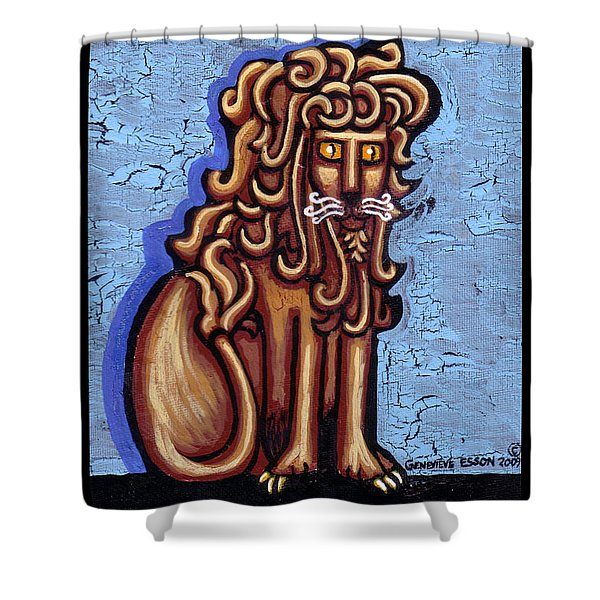 Baby Blue Byzantine Lion Shower Curtain by Genevieve Esson