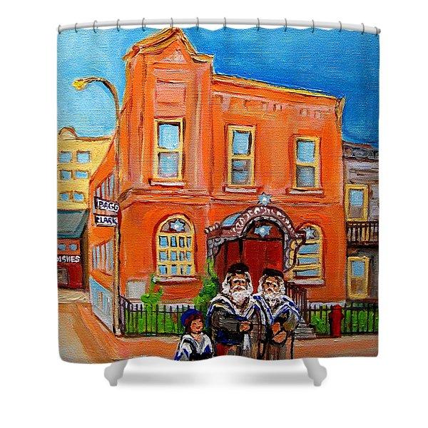 Bagg Street Synagogue Sabbath Shower Curtain by Carole Spandau