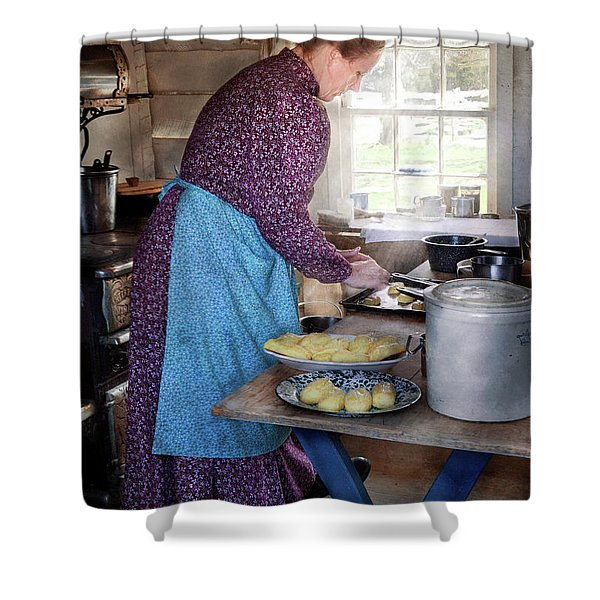 Baker - Preparing Dinner Shower Curtain by Mike Savad