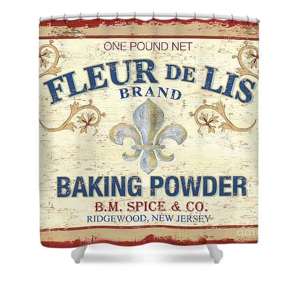 Baking Powder Fleur de Lis Shower Curtain by Debbie DeWitt