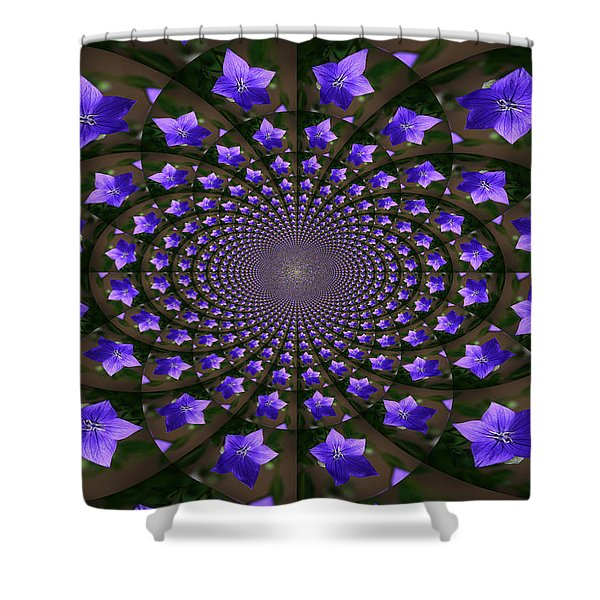 Balloon Flower Kaleidoscope Shower Curtain by Teresa Mucha