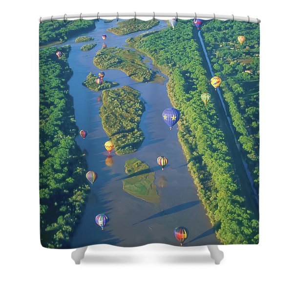 Balloons Over The Rio Grande Shower Curtain by Alan Toepfer