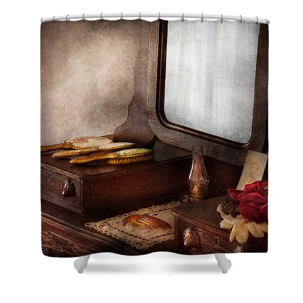Barber - Everything you need to look Beautiful Shower Curtain by Mike Savad