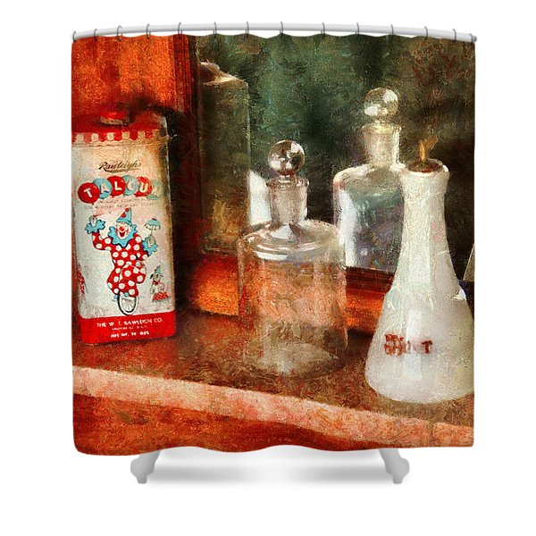 Barber - On a barbers counter  Shower Curtain by Mike Savad