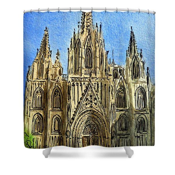 Barcelona Spain Shower Curtain by Irina Sztukowski
