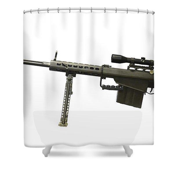 Barrett L82a1 Anti-materiel Rifle Shower Curtain by Andrew Chittock