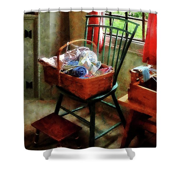 Basket Of Cloth And Yarn On Chair Shower Curtain by Susan Savad