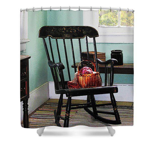 Basket of Yarn on Rocking Chair Shower Curtain by Susan Savad