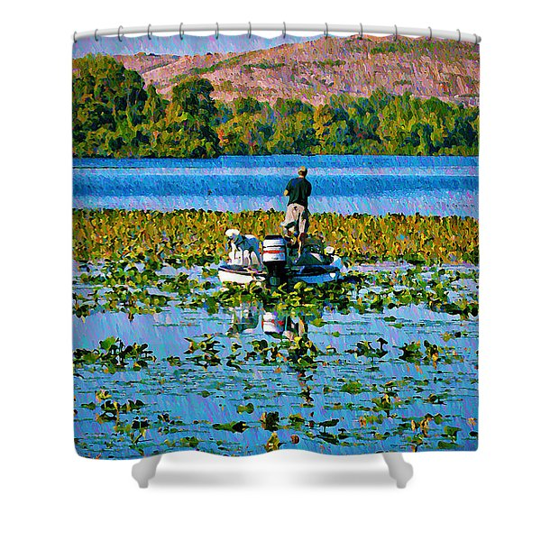 Bass Fishing Shower Curtain by Bill Cannon