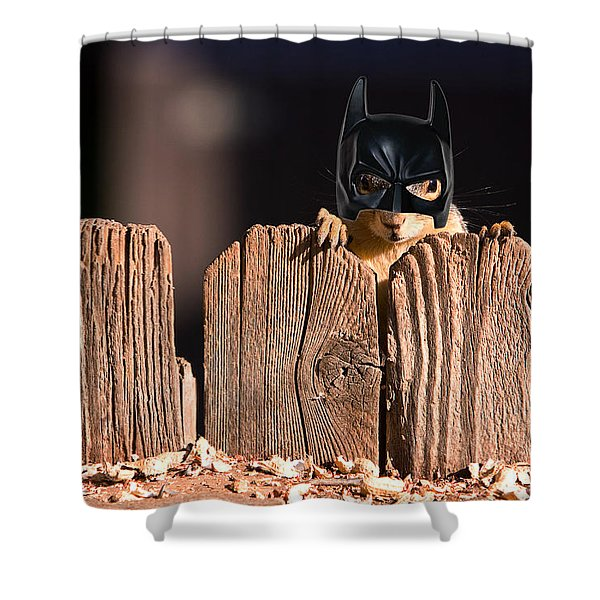 Bat Squirrel  the Cape Crusader known for putting away nuts.  Shower Curtain by James BO  Insogna