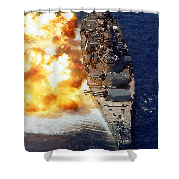 Battleship Uss Iowa Firing Its Mark 7 Shower Curtain by Stocktrek Images