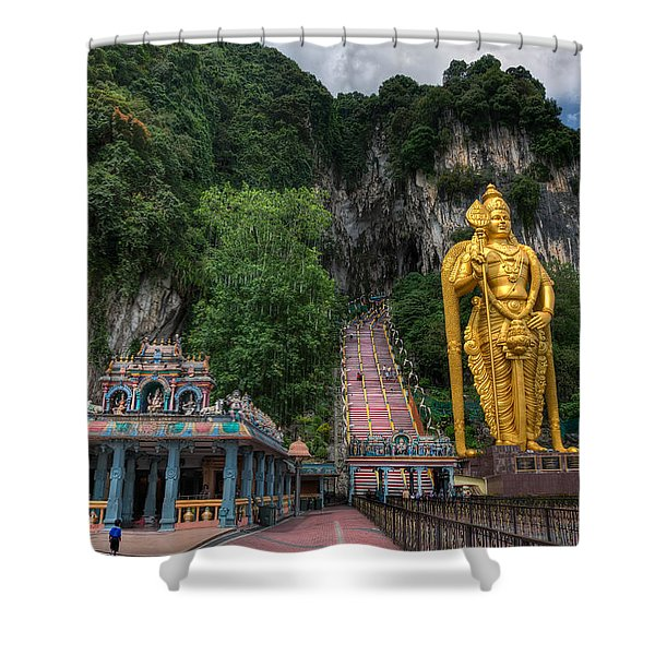 Batu Caves Shower Curtain by Adrian Evans