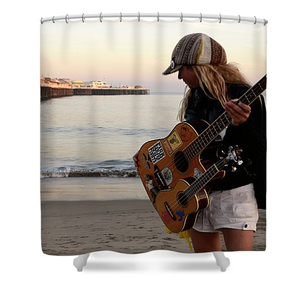 Beach Musician Shower Curtain by Bob Christopher