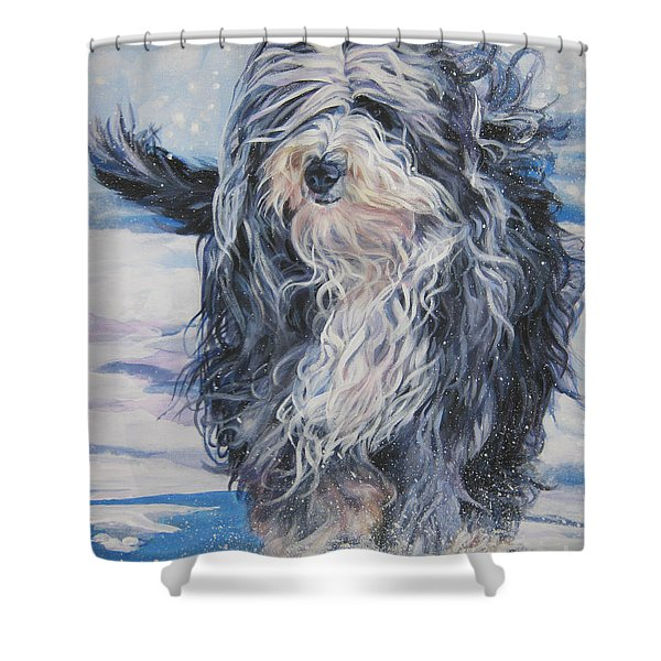 Bearded Collie in Snow Shower Curtain by L A Shepard