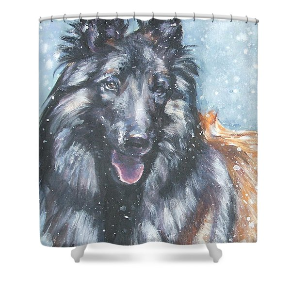 Belgian Tervuren in snow Shower Curtain by Lee Ann Shepard