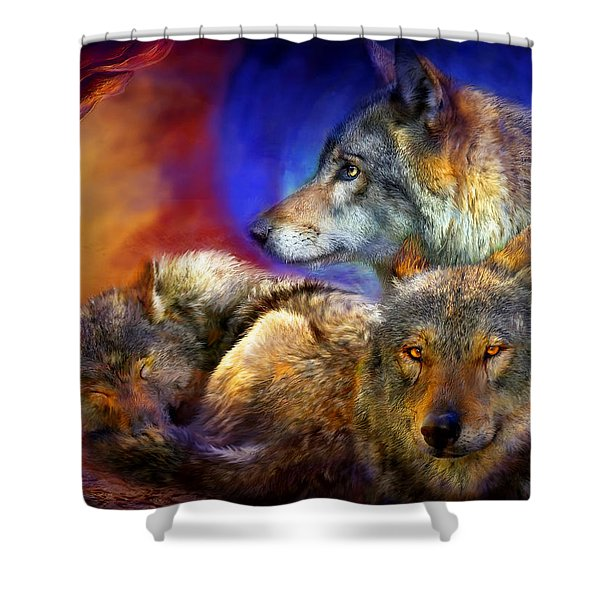 Beneath A Blue Moon Shower Curtain by Carol Cavalaris