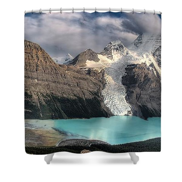 Berg Lake, Mount Robson Provincial Park Shower Curtain by Clarke Wiebe