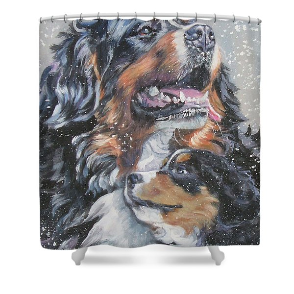 Bernese Mountain Dog With Pup Shower Curtain by L A Shepard