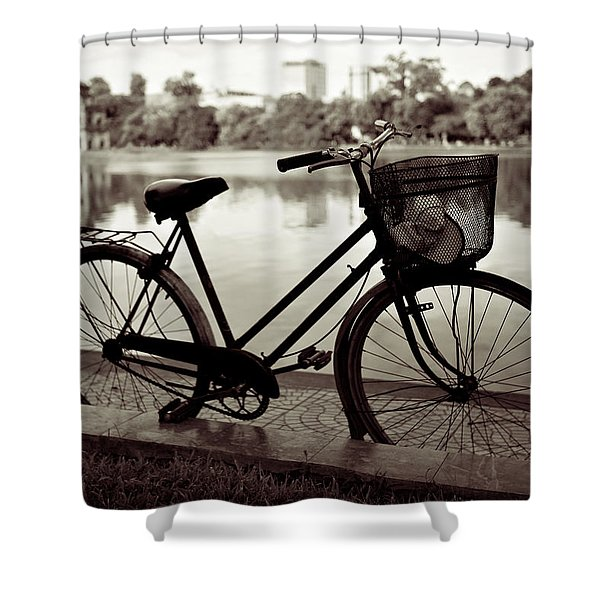 Bicycle by the Lake Shower Curtain by Dave Bowman