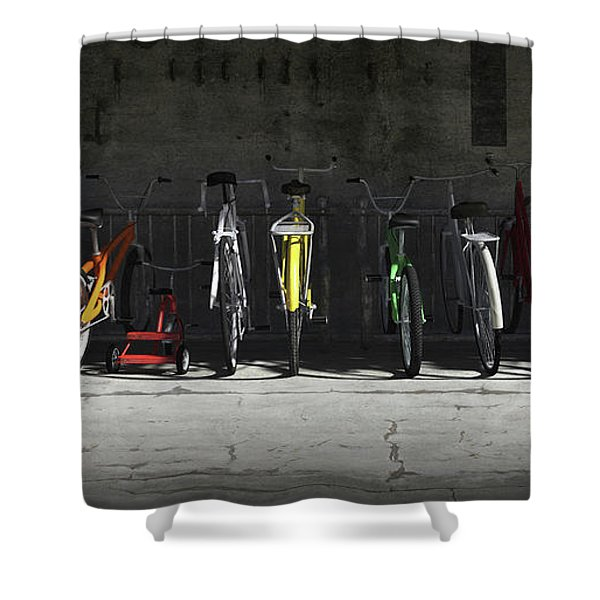 Bike Rack Shower Curtain by Cynthia Decker
