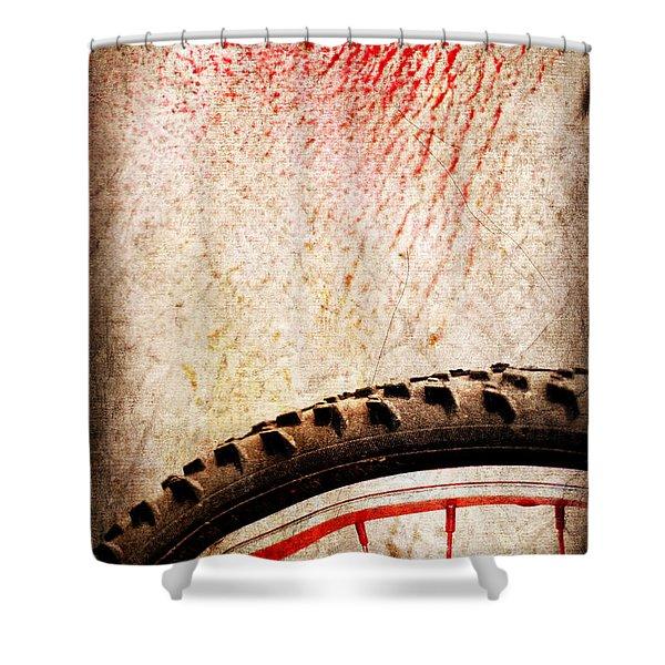 Bike wheel Red spray Shower Curtain by Silvia Ganora