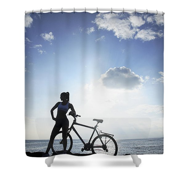 Biking Silhouette Shower Curtain by Brandon Tabiolo - Printscapes