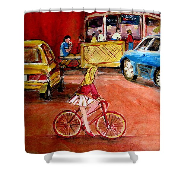 BIKING TO THE ORANGE JULEP Shower Curtain by CAROLE SPANDAU