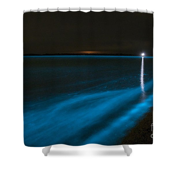 Bioluminescence In Waves Shower Curtain by Philip Hart